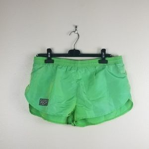 Vintage Sport Zone Lime Green Running Shorts